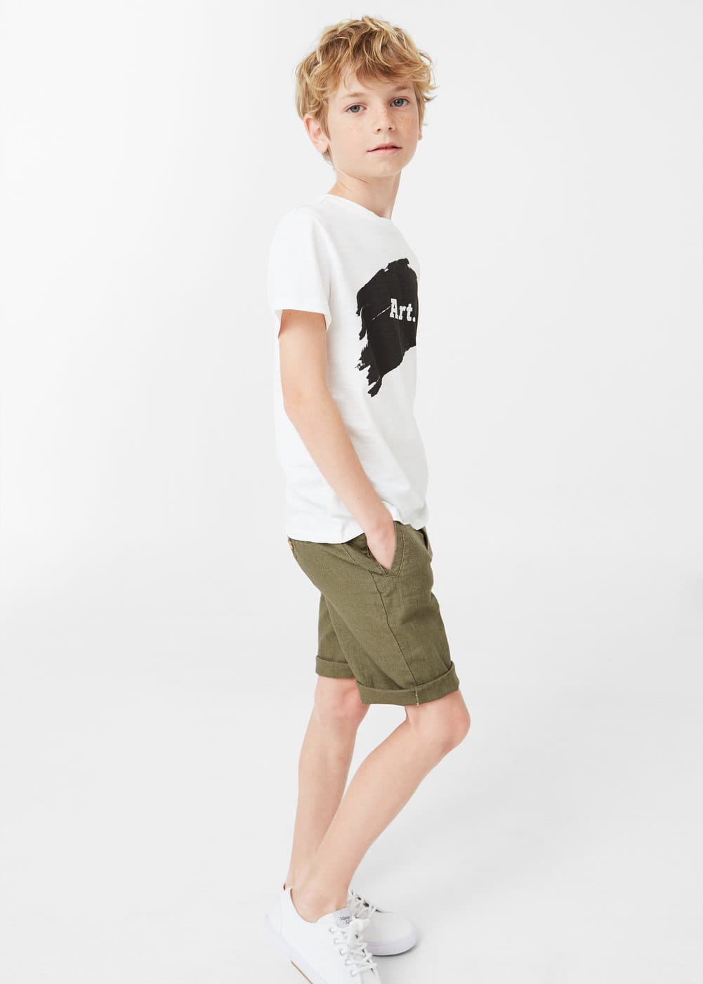 Linen-cotton blend bermuda short | MANGO KIDS