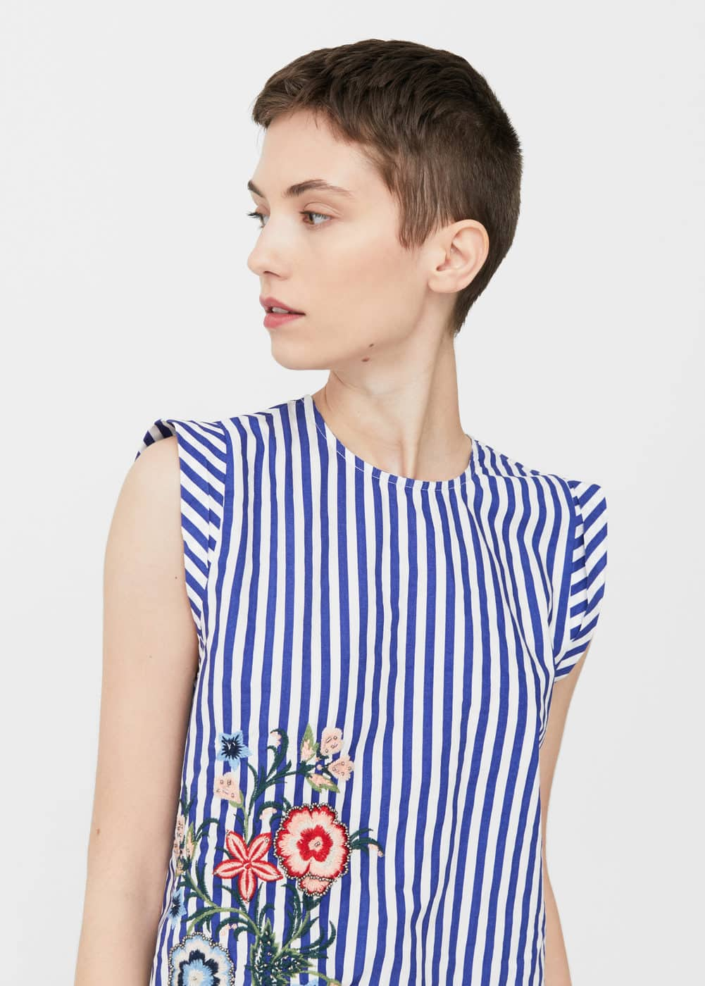 Embroidered striped top | MANGO