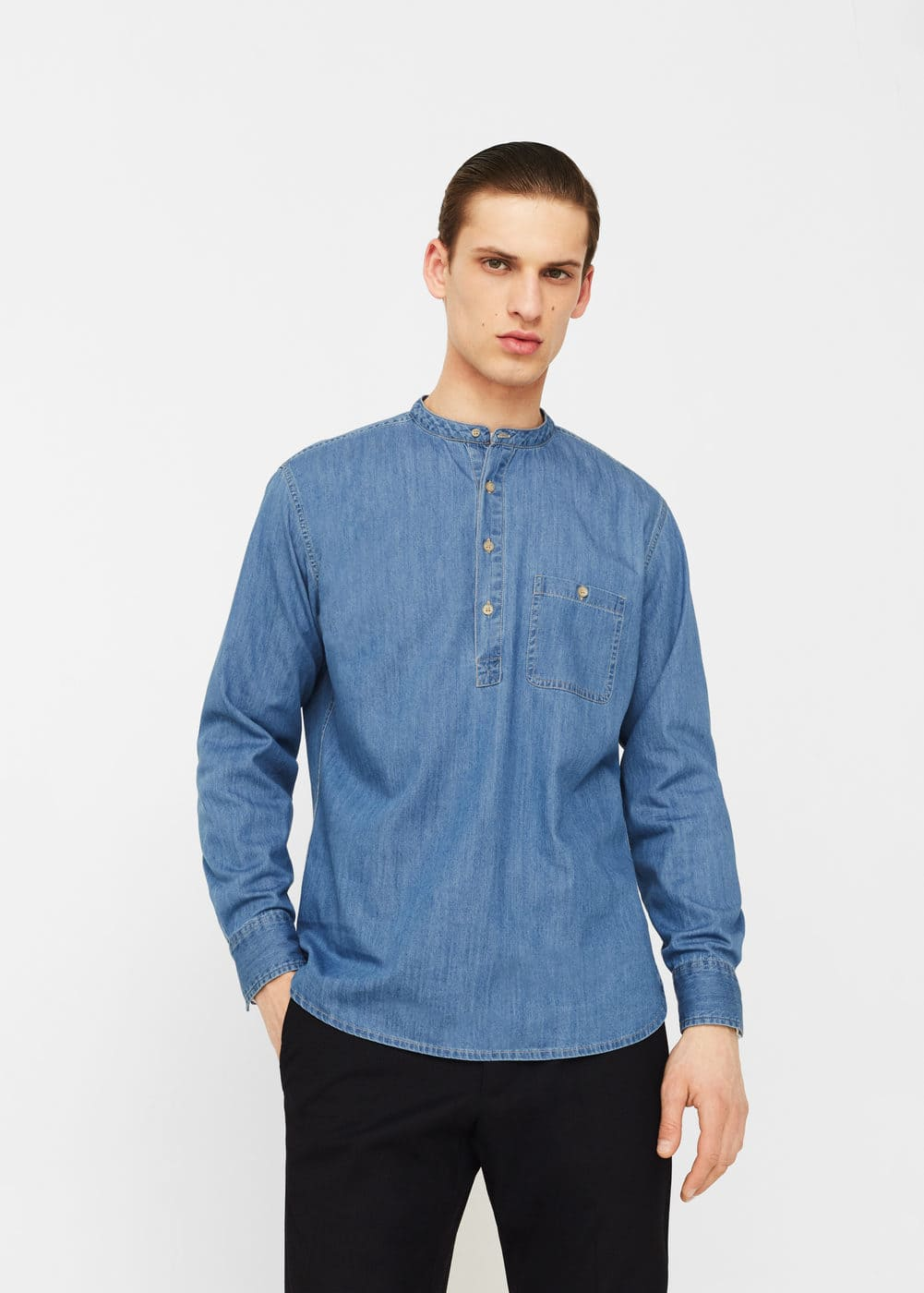 Light wash regular-fit denim shirt | MANGO