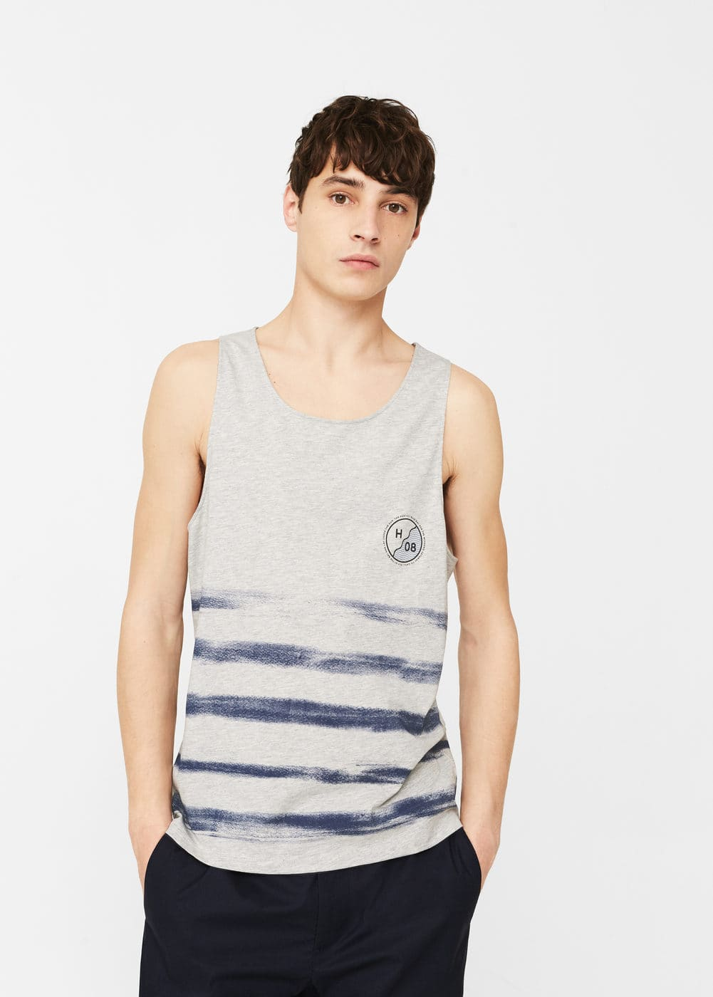 Striped strap t-shirt | MANGO MAN