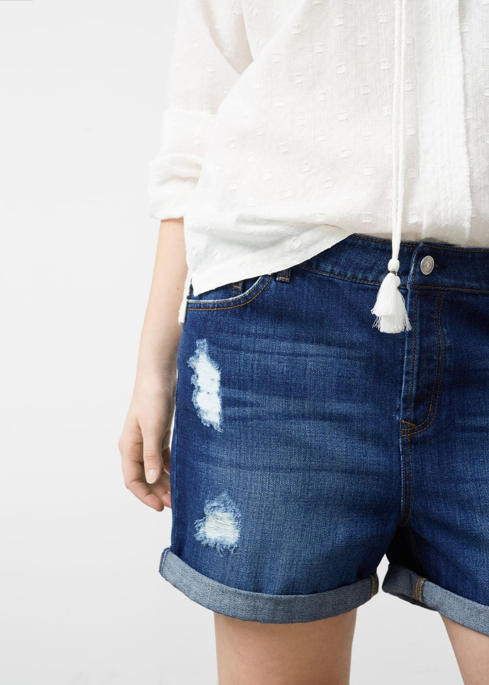Ripped-detail denim shorts | MANGO