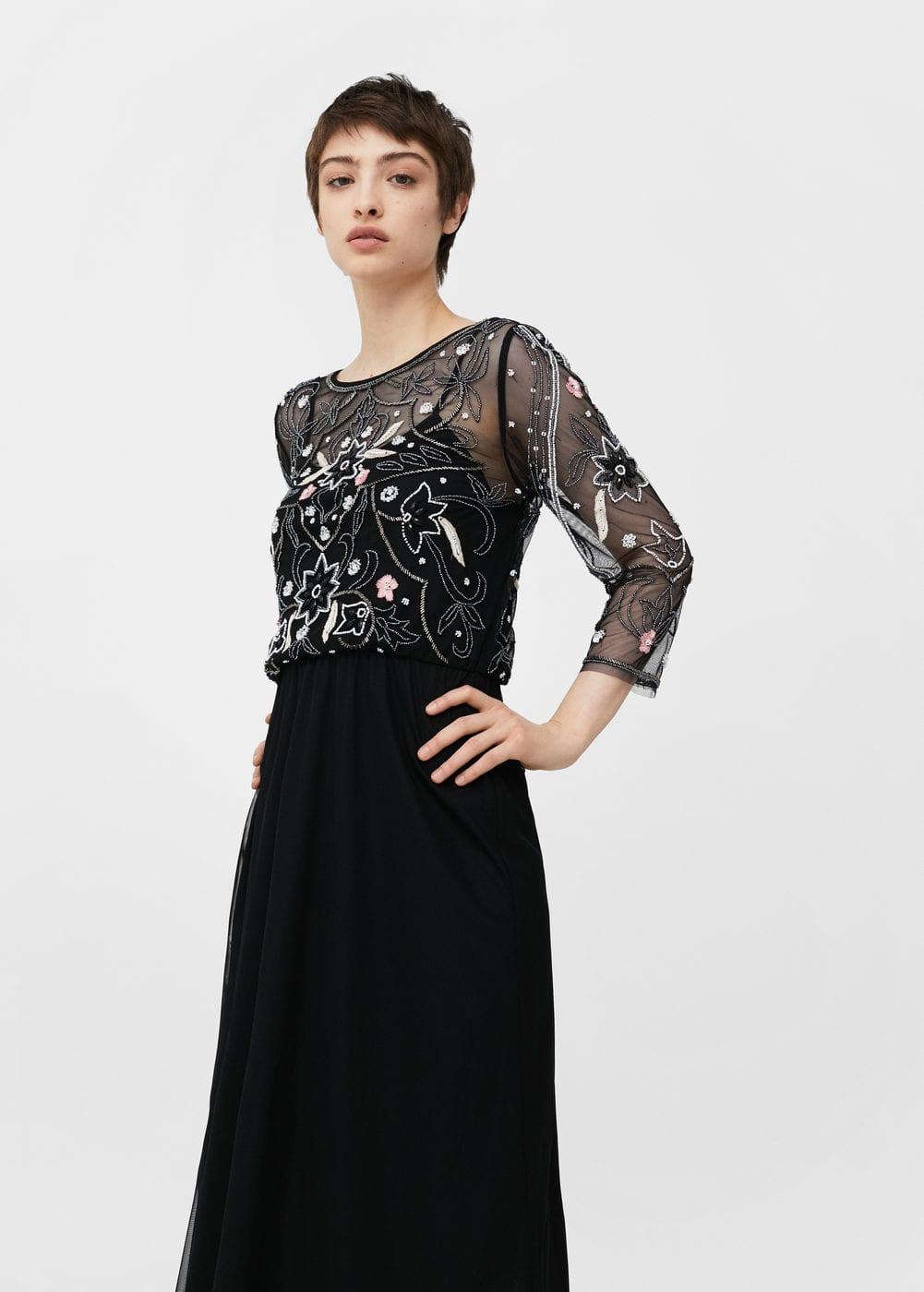 Embroidered tulle dress | MANGO