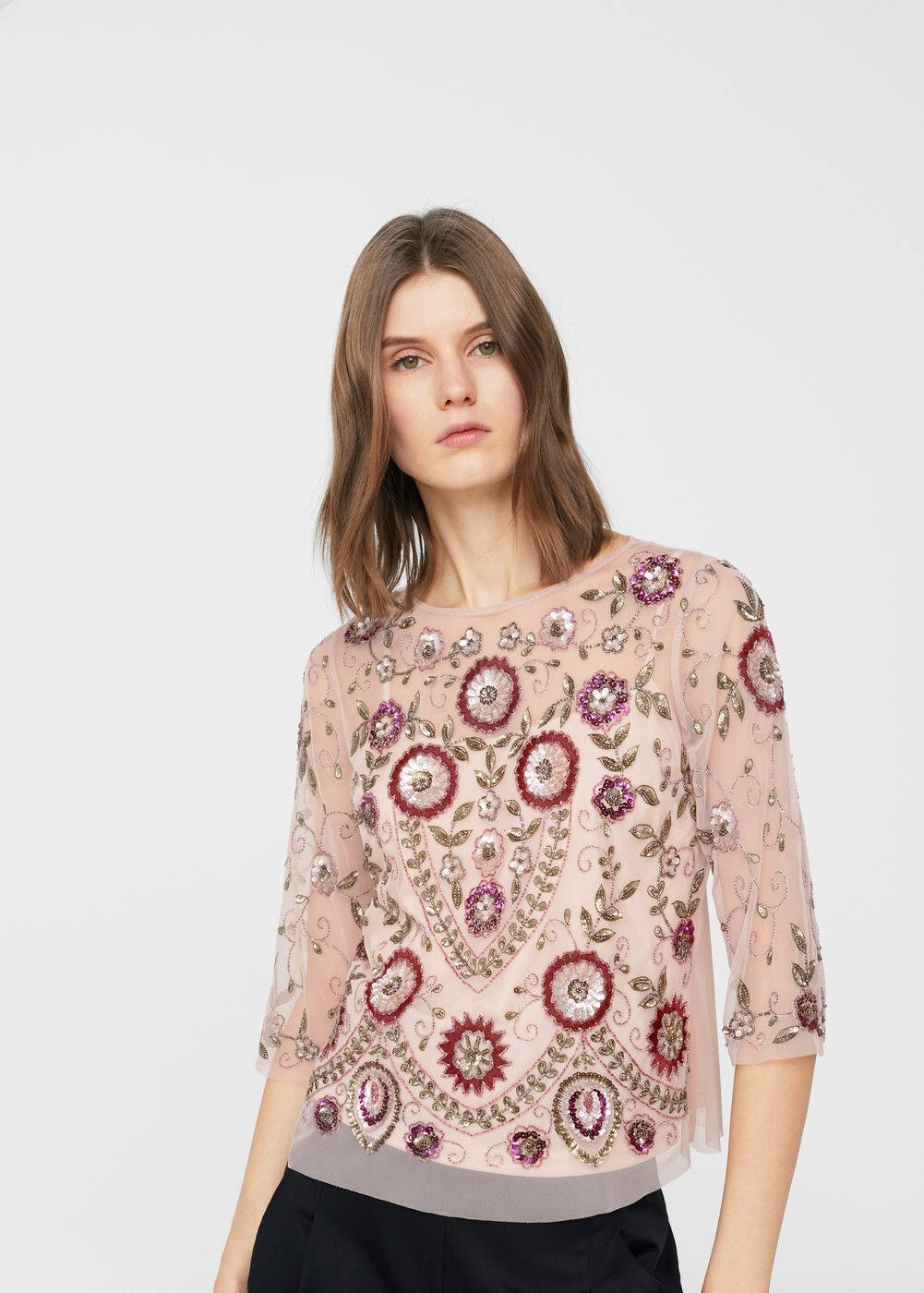 Embroidered tulle blouse | MANGO