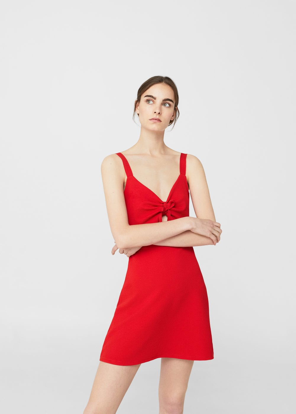 Bow cut-out detail dress | MANGO