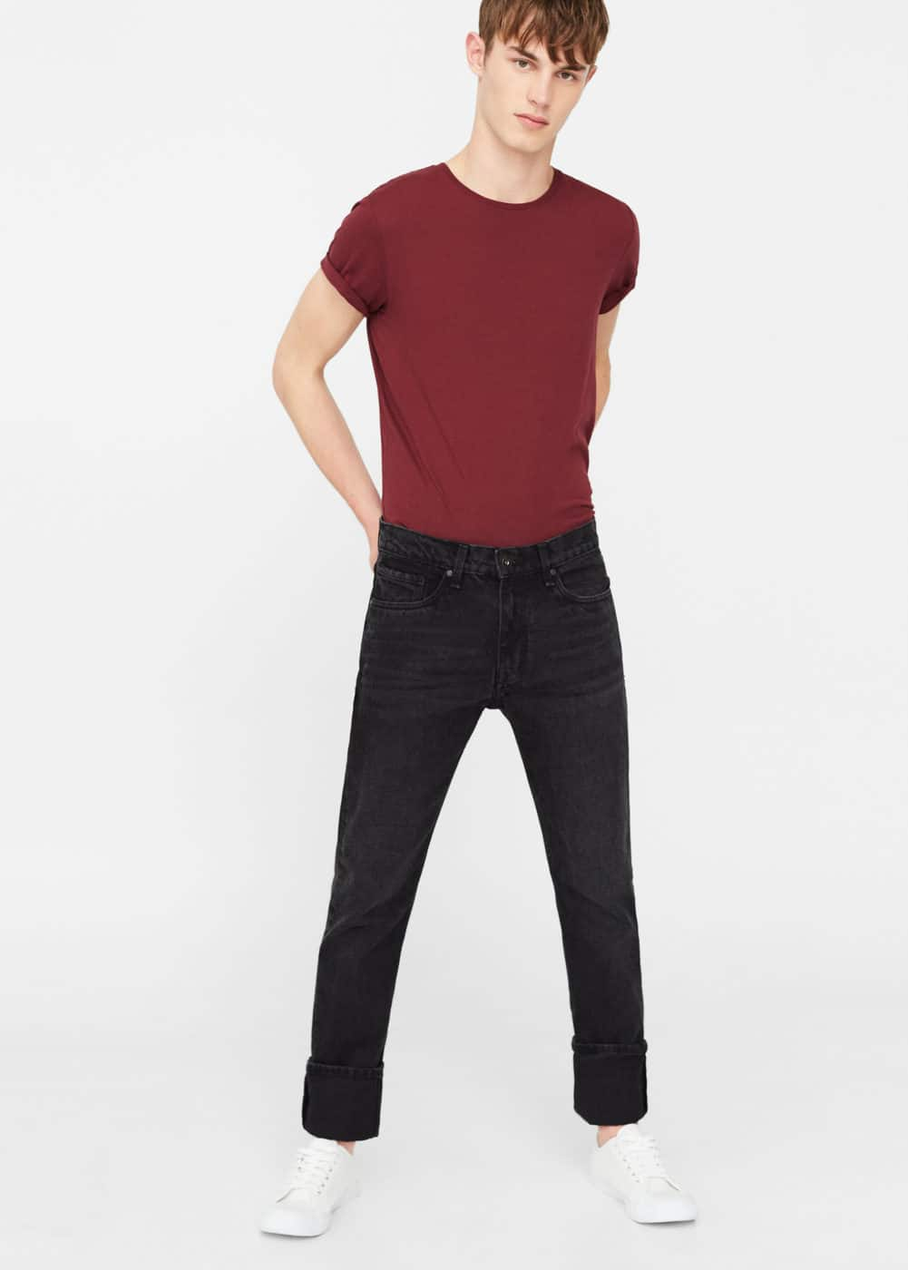 Straight-fit dark bob jeans | MANGO MAN