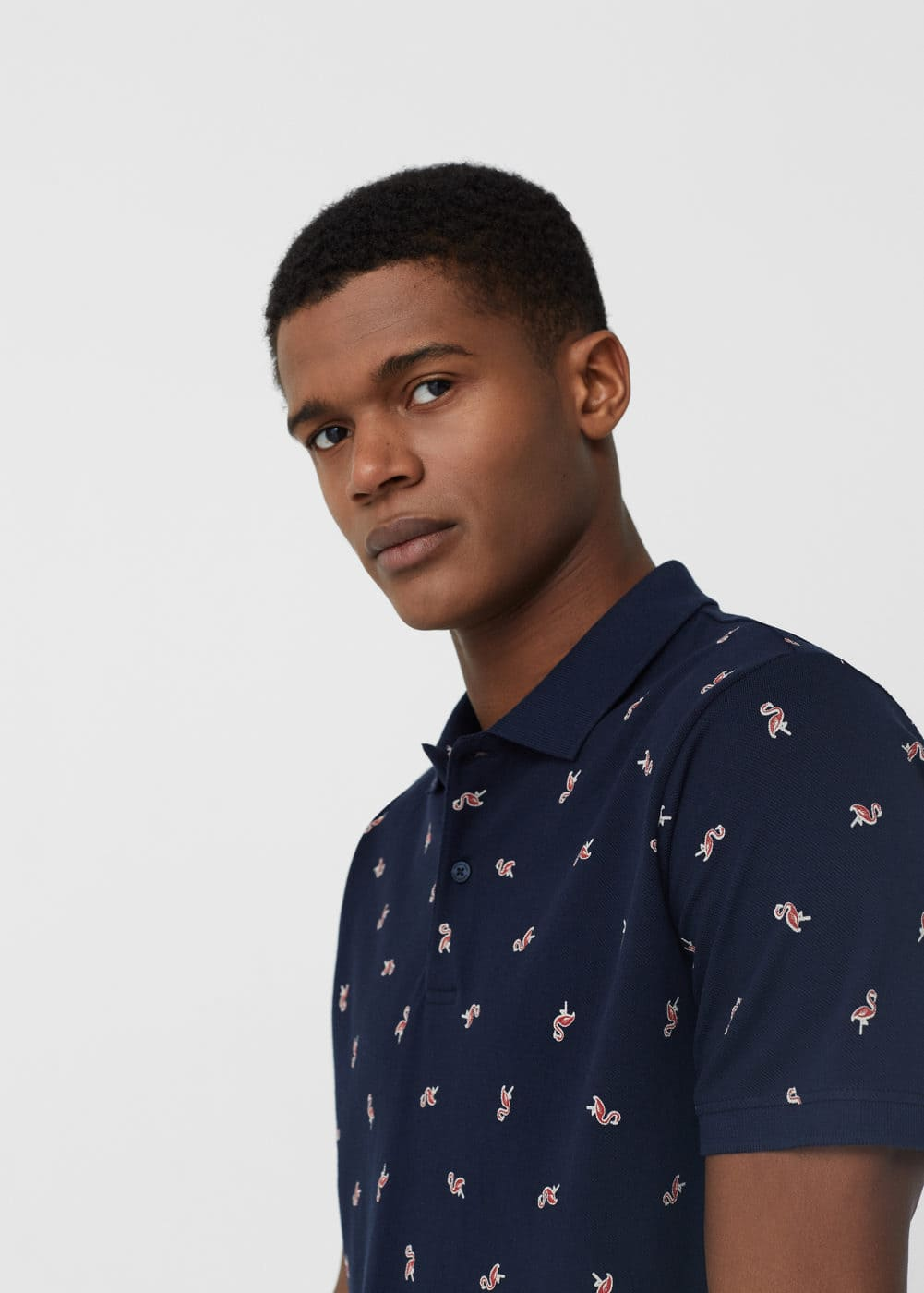 Flamingo cotton polo shirt | MANGO MAN