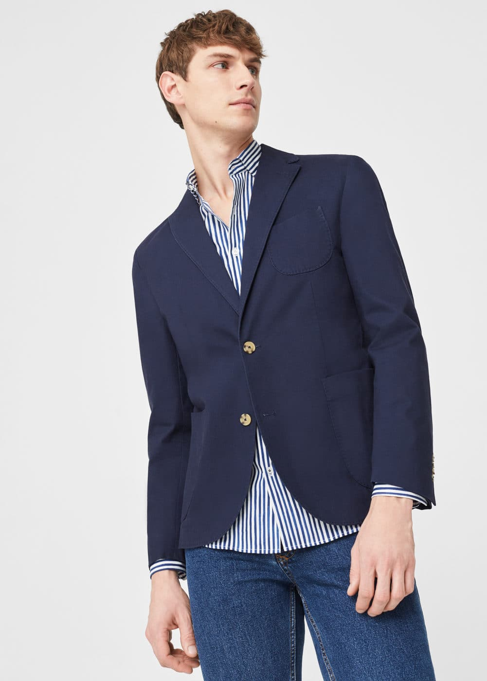 Slim-fit cotton canvas blazer | MANGO