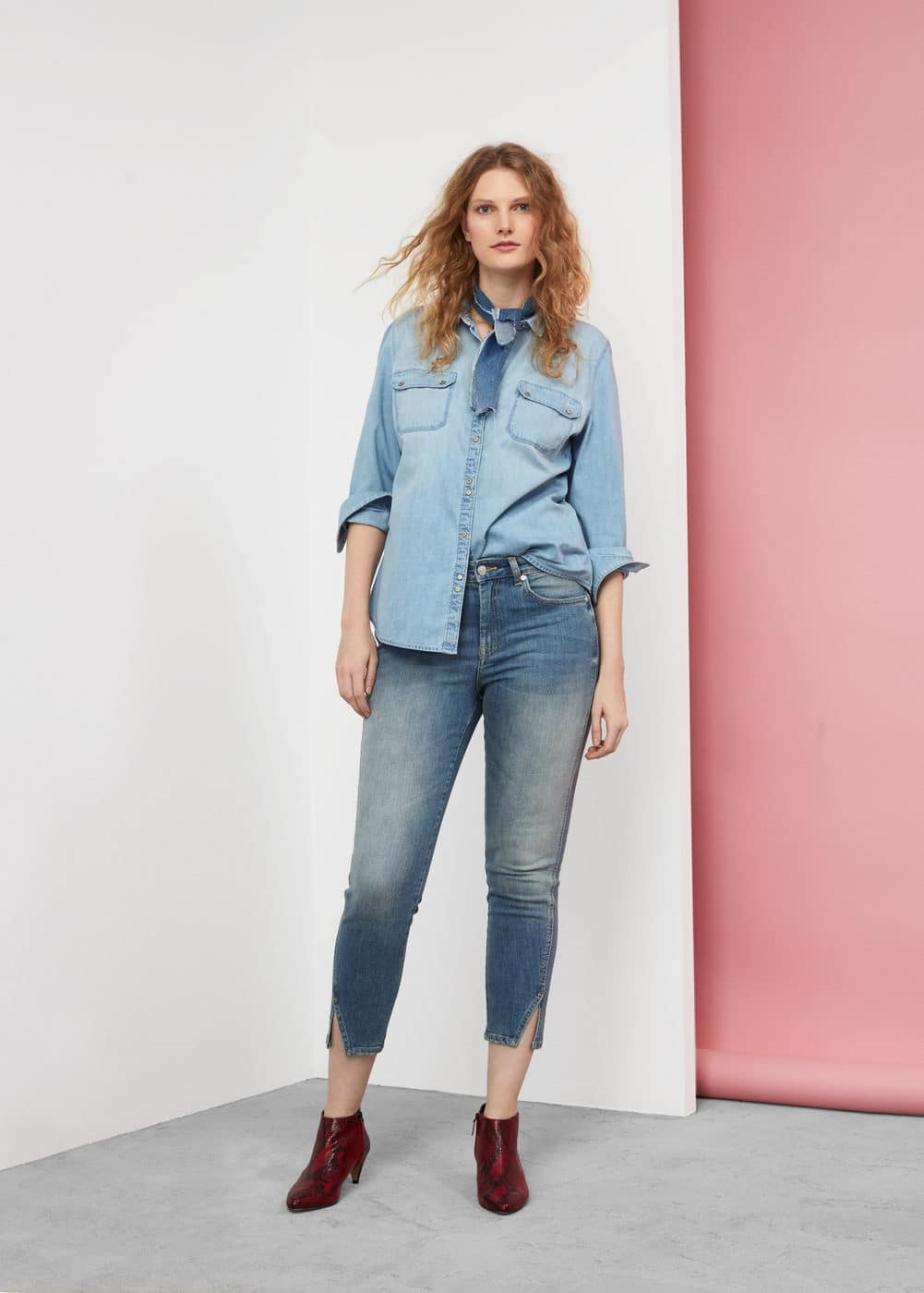 Medium wash denim shirt | VIOLETA BY MANGO