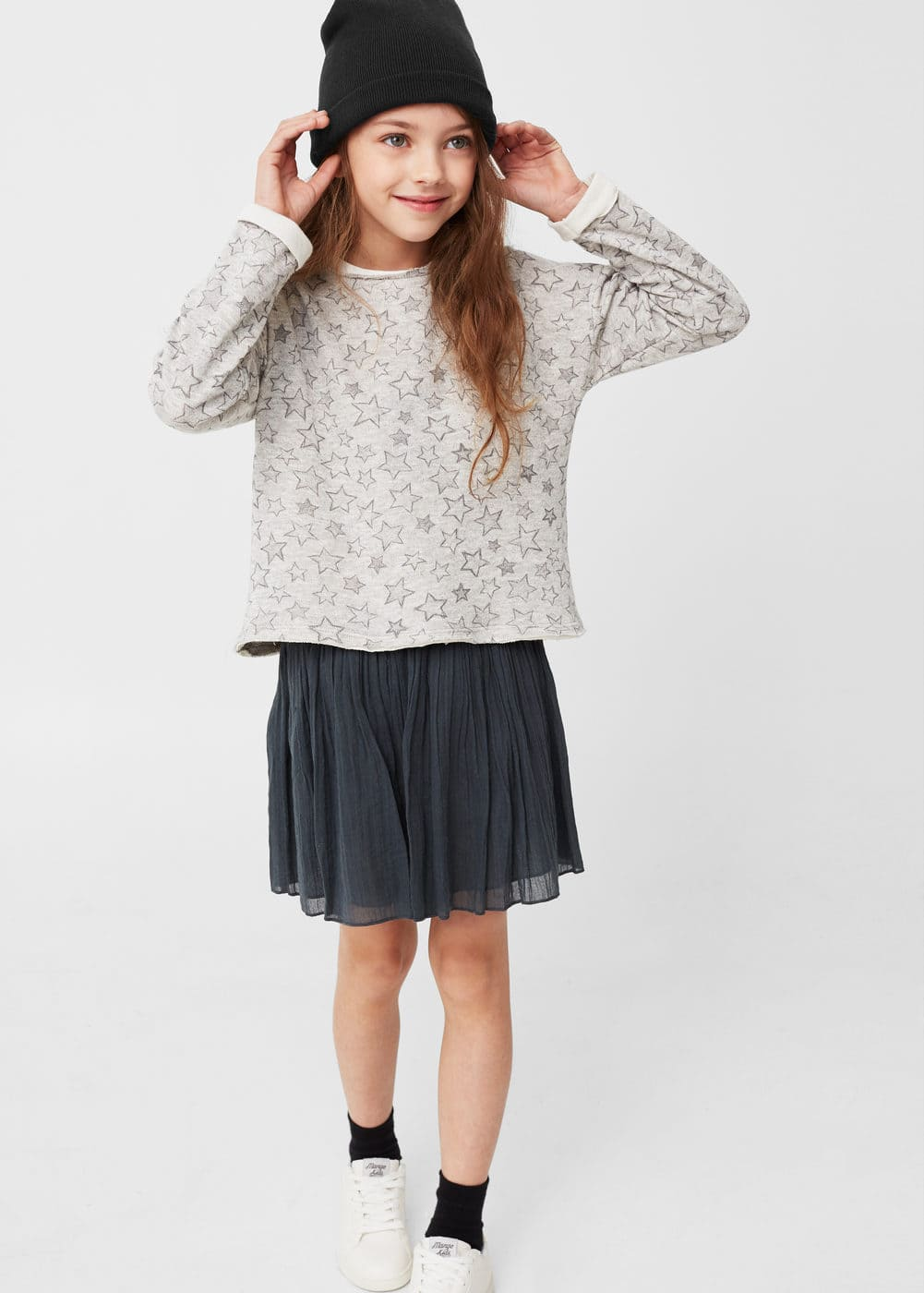 Metallic cotton-blend sweatshirt | MANGO KIDS