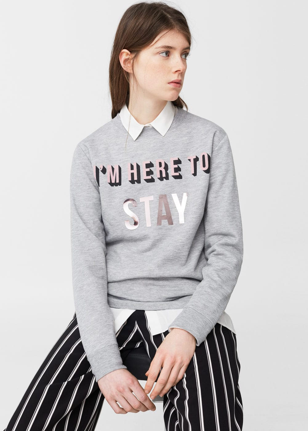 Metallic message sweatshirt | MANGO