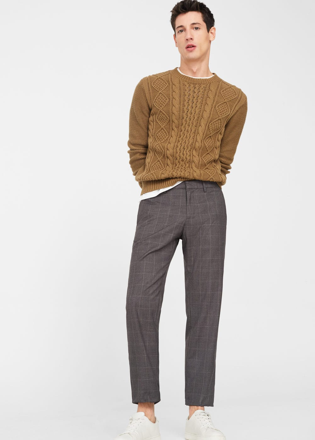 Slim-fit check-print trousers | MANGO MAN