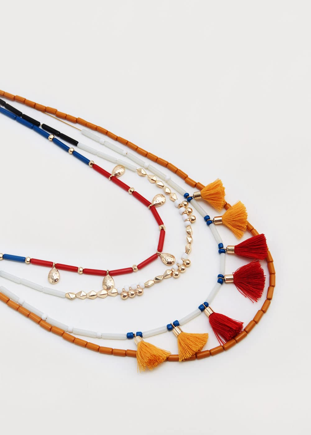 Pompom ethnic necklace | MANGO