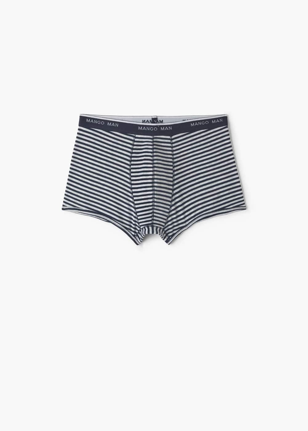 Logo striped cotton boxer briefs | MANGO MAN