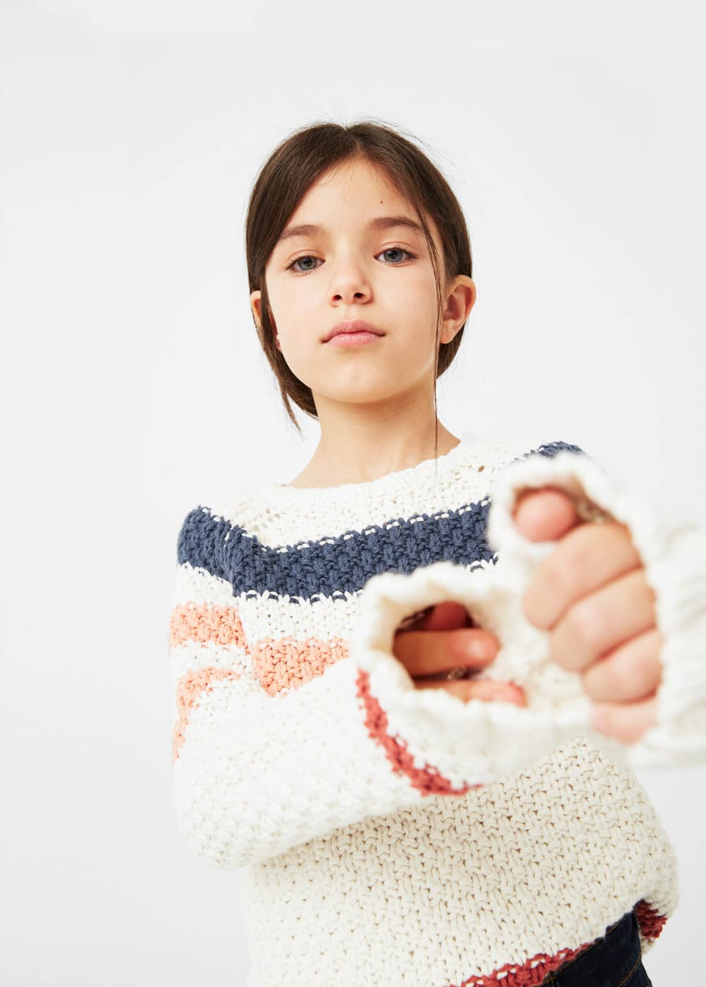 Tricolor cotton sweater | MANGO KIDS
