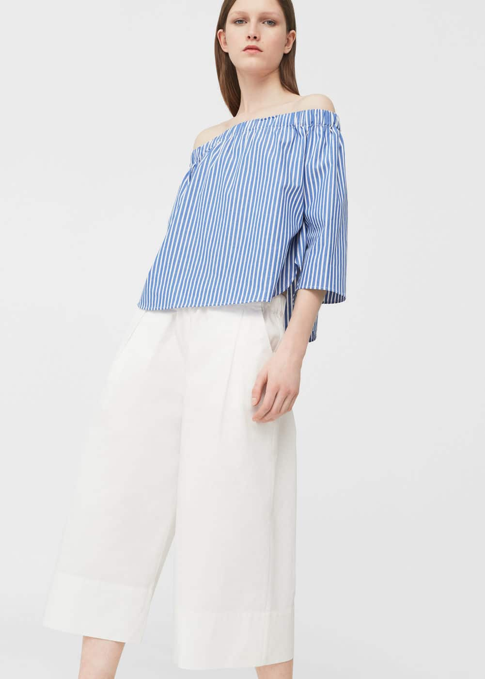 Brusa off-shoulder popelín | MANGO