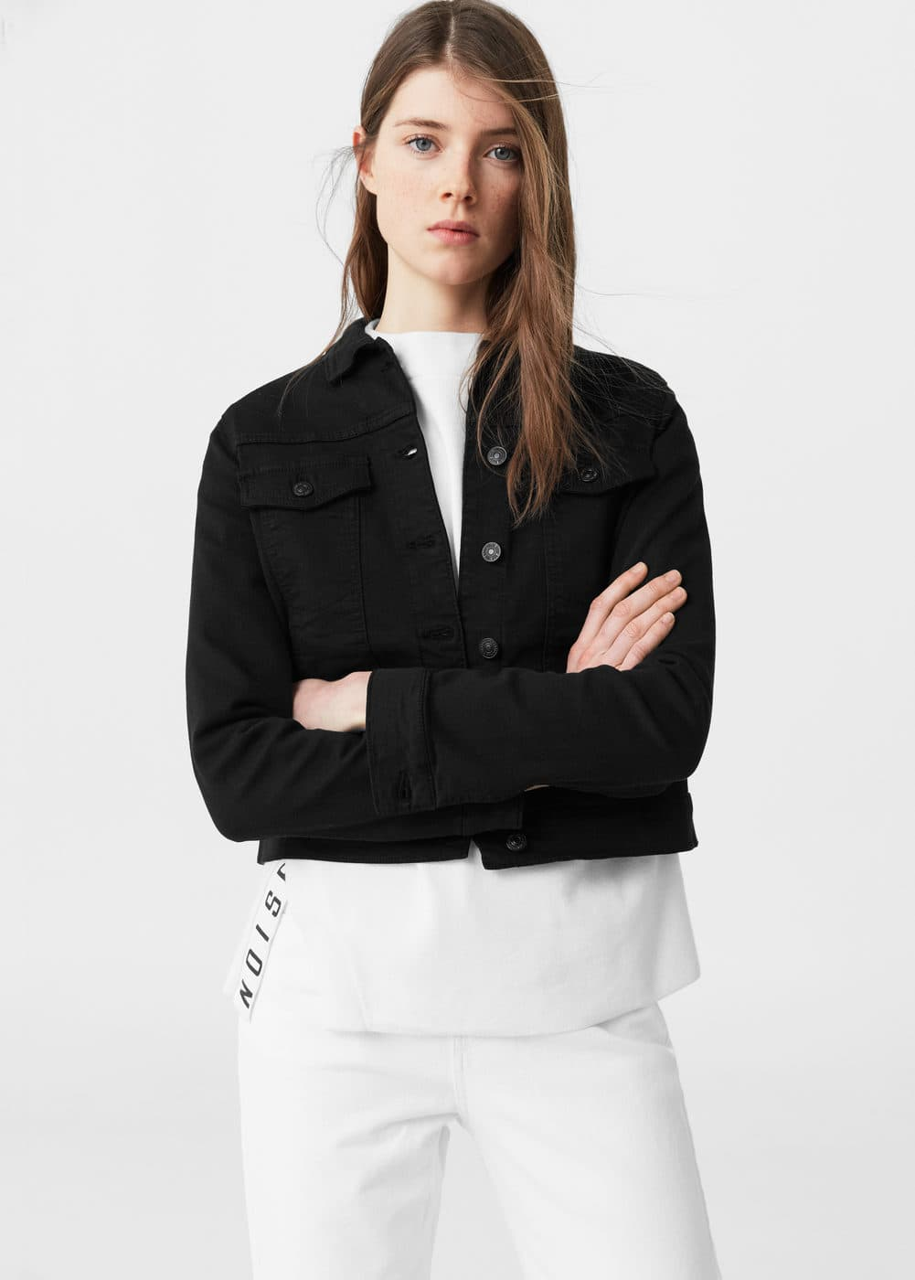 Black denim jacket - Women | MANGO USA