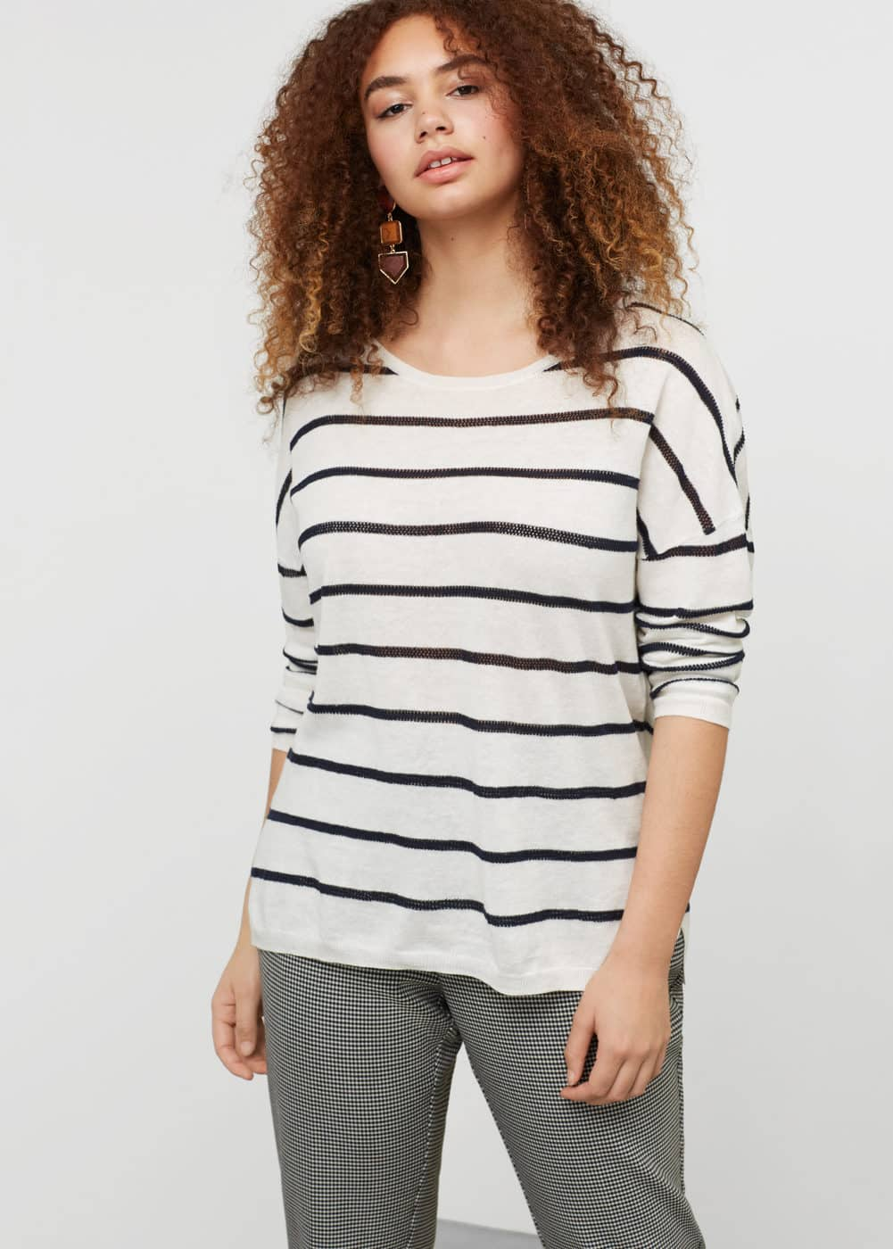 Striped cotton linen-blend sweater | VIOLETA BY MANGO