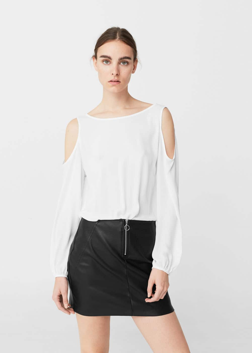 Monochrome contrast-bodice dress | MANGO