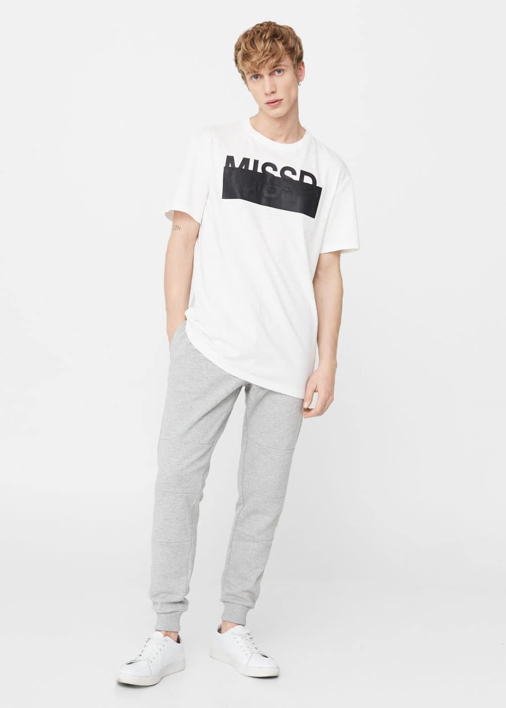Plush-cotton jogging trousers | MANGO