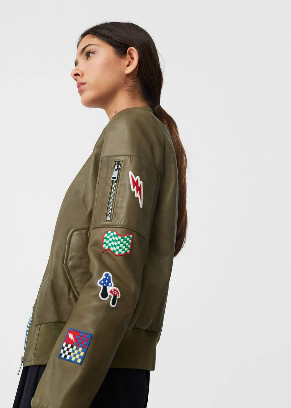 Patched leather bomber jacket | MANGO