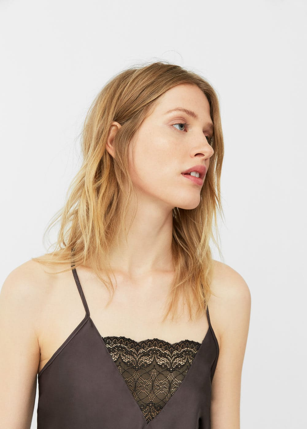 Lace panel top | MANGO