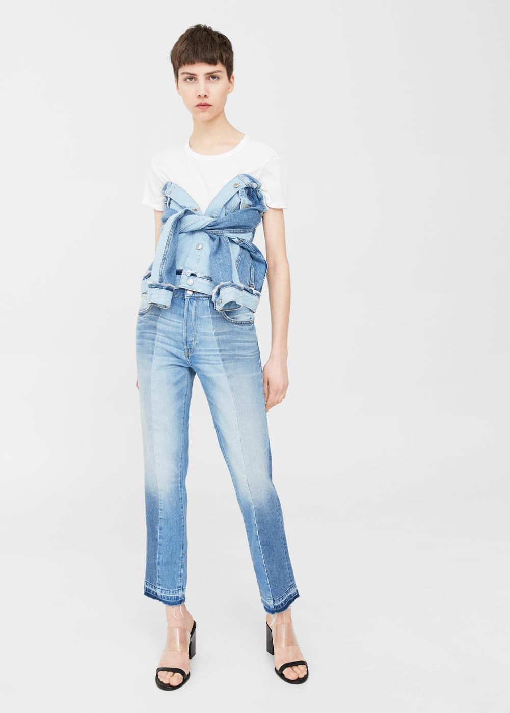 Straight crop mix jeans | MANGO