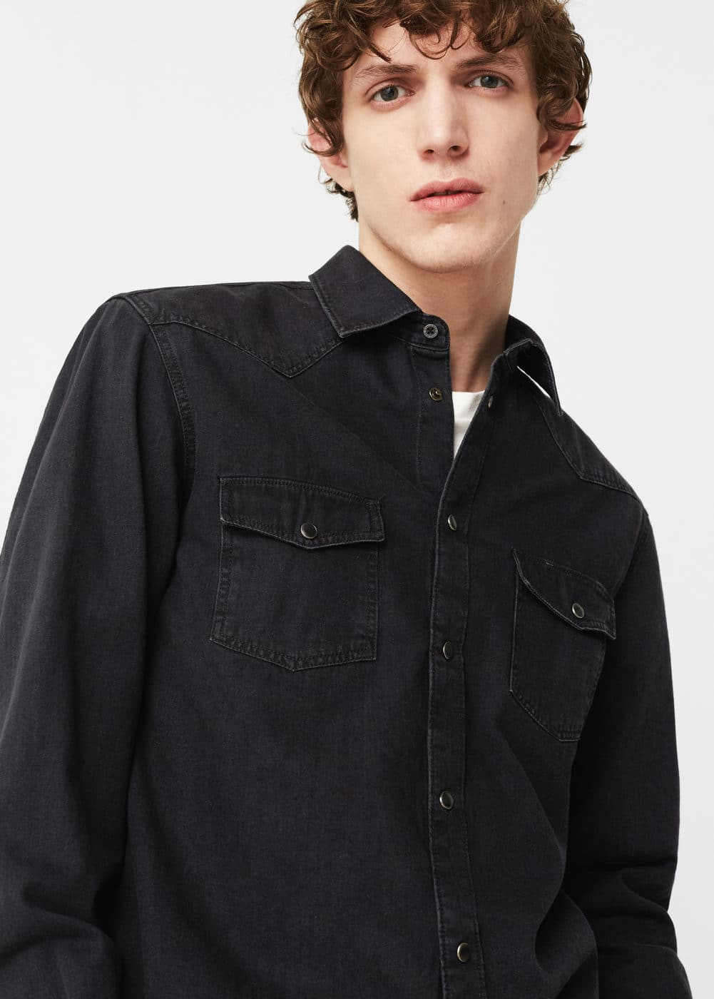 Slim-fit dark wash denim shirt | MANGO MAN