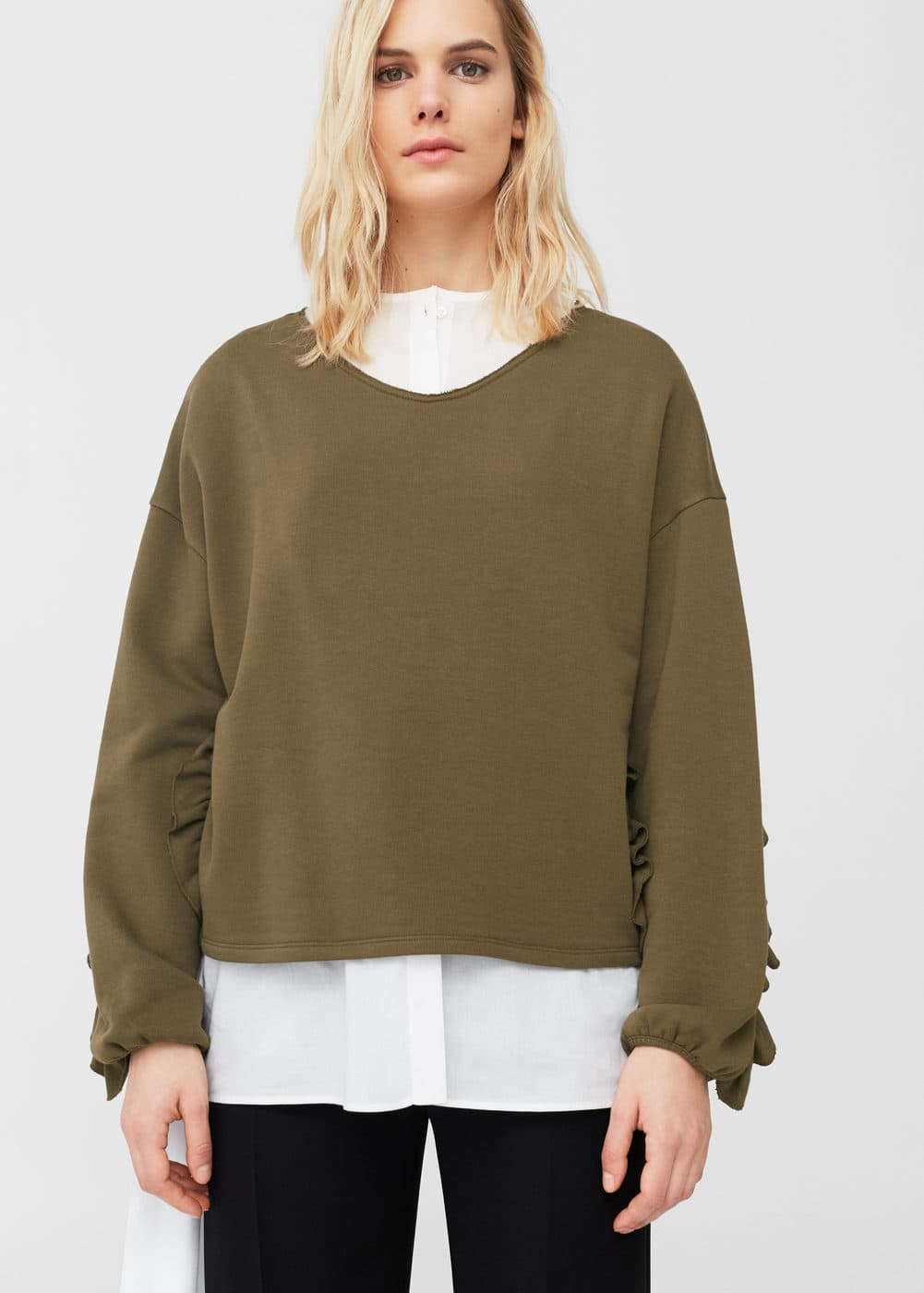 Ruffled cotton sweatshirt | MANGO