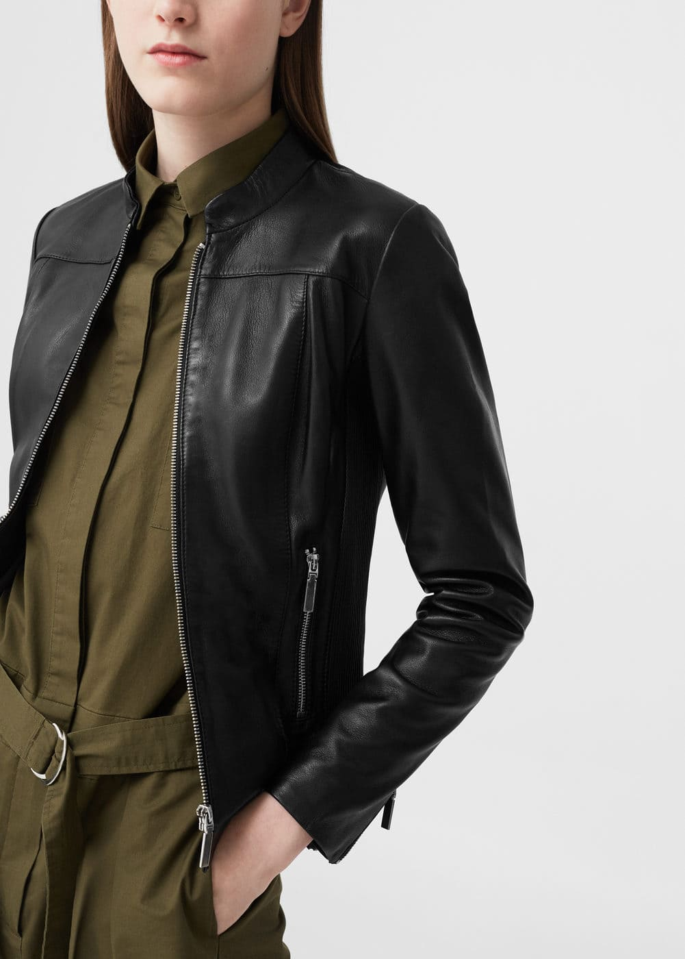 Stitched leather jacket | MNG