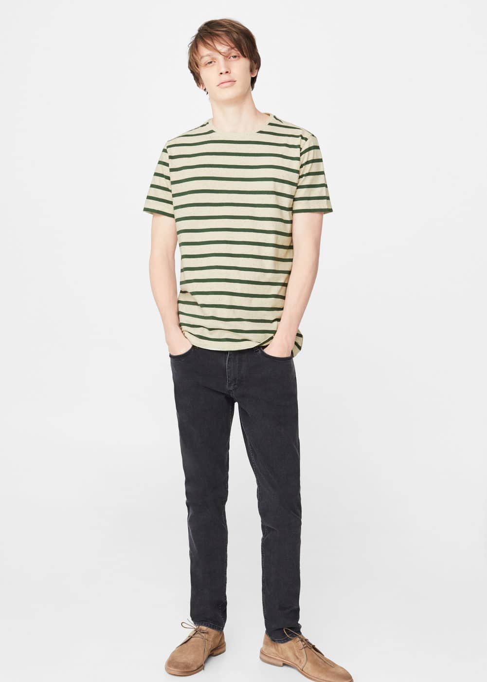Striped cotton linen-blend t-shirt | MANGO