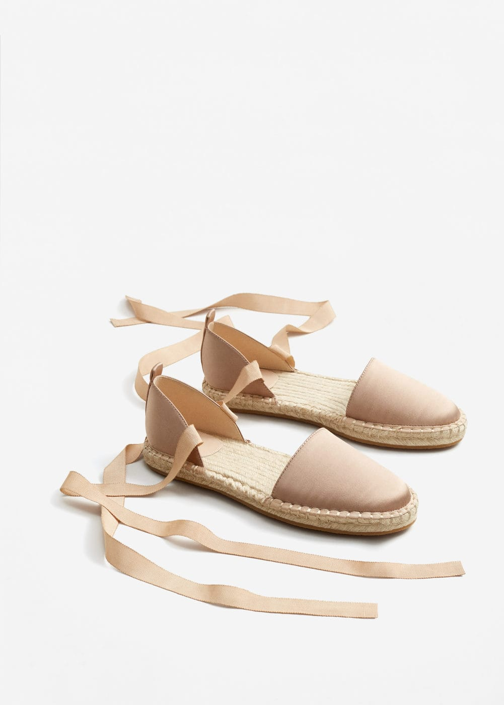 Lace-up satin espadrilles | MANGO