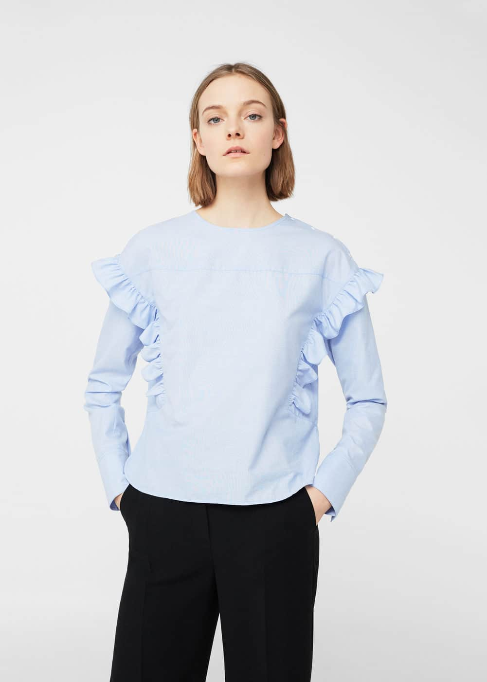 Ruffle cotton blouse | MNG