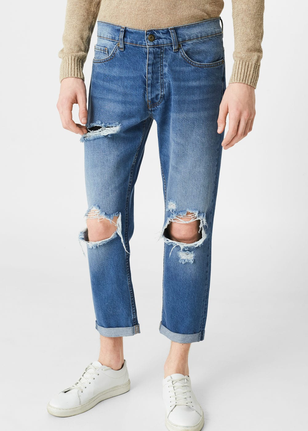 Cropped slim-fit ethan jeans | MANGO MAN
