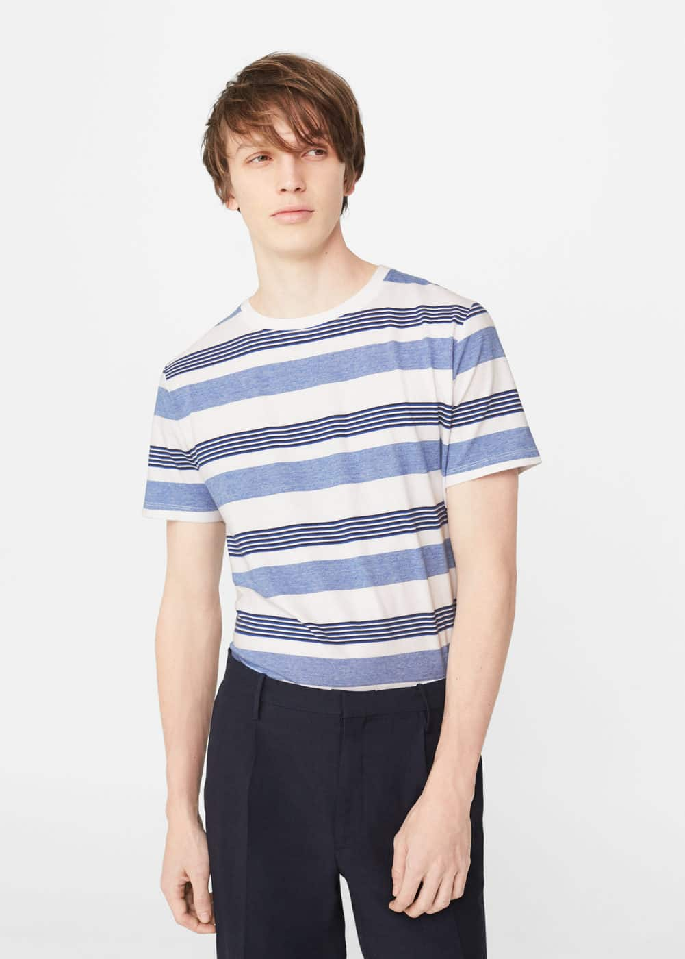 Striped print t-shirt | MANGO MAN