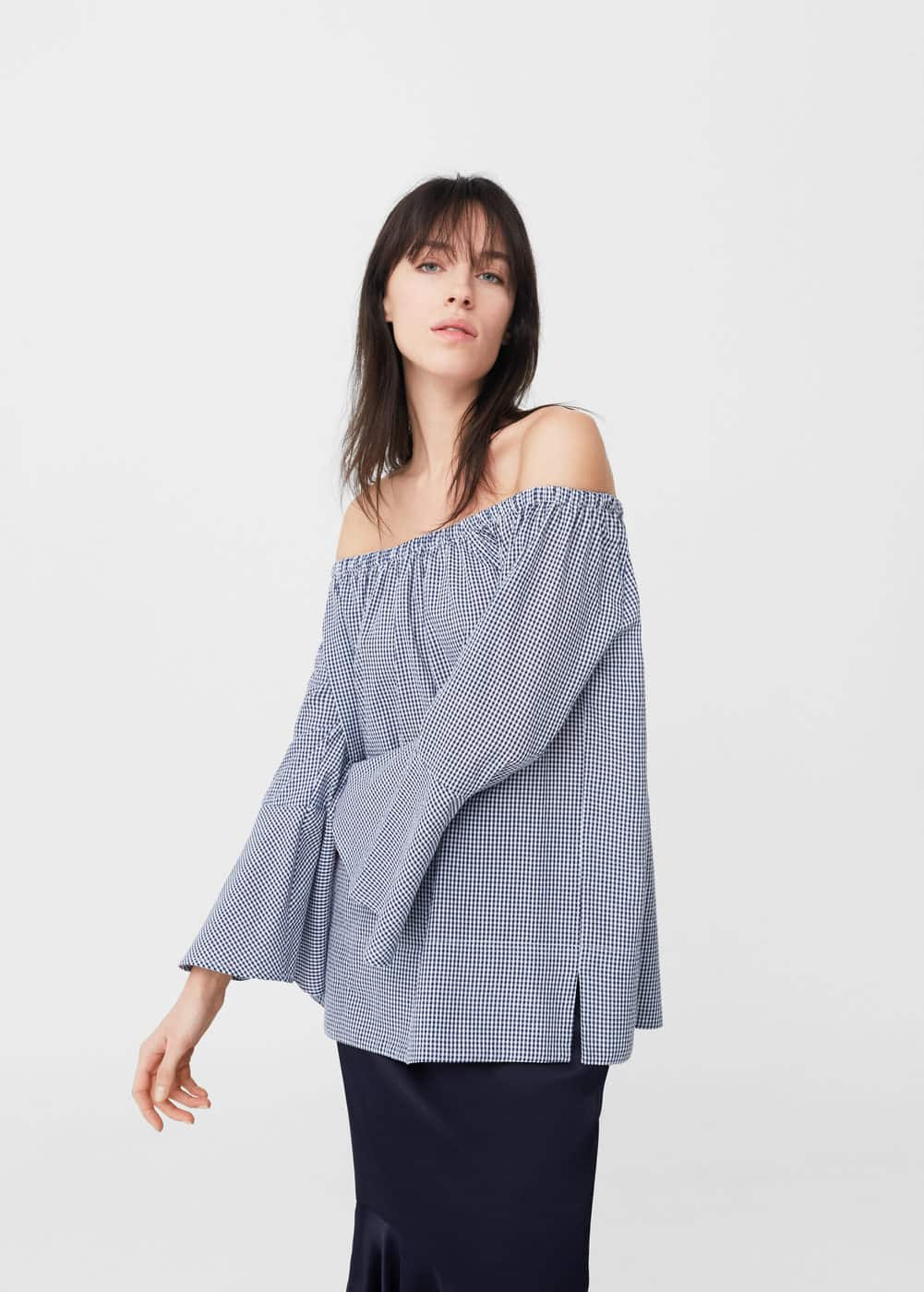 Gemusterte off-shoulder bluse | MANGO