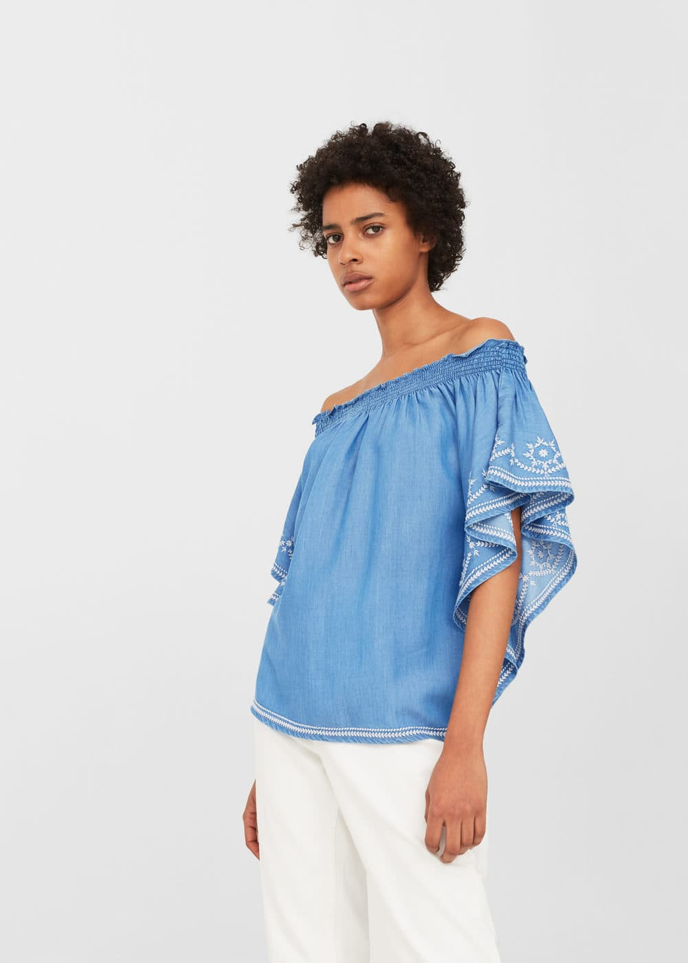 Bestickte jeansbluse | MANGO