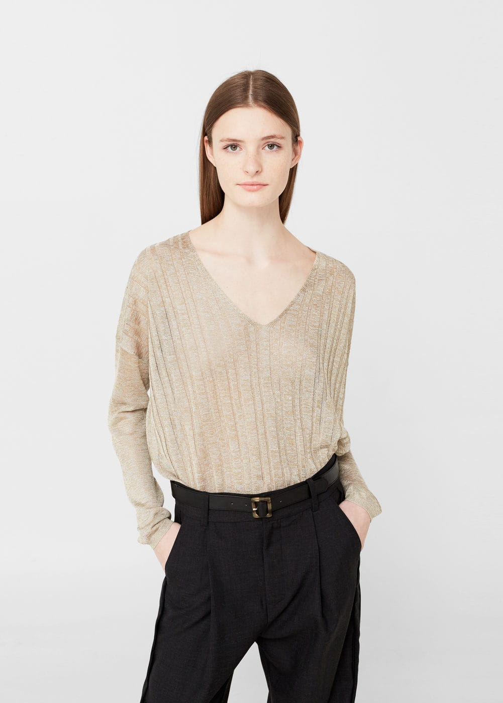 Pullover mit metallic-finish | MANGO