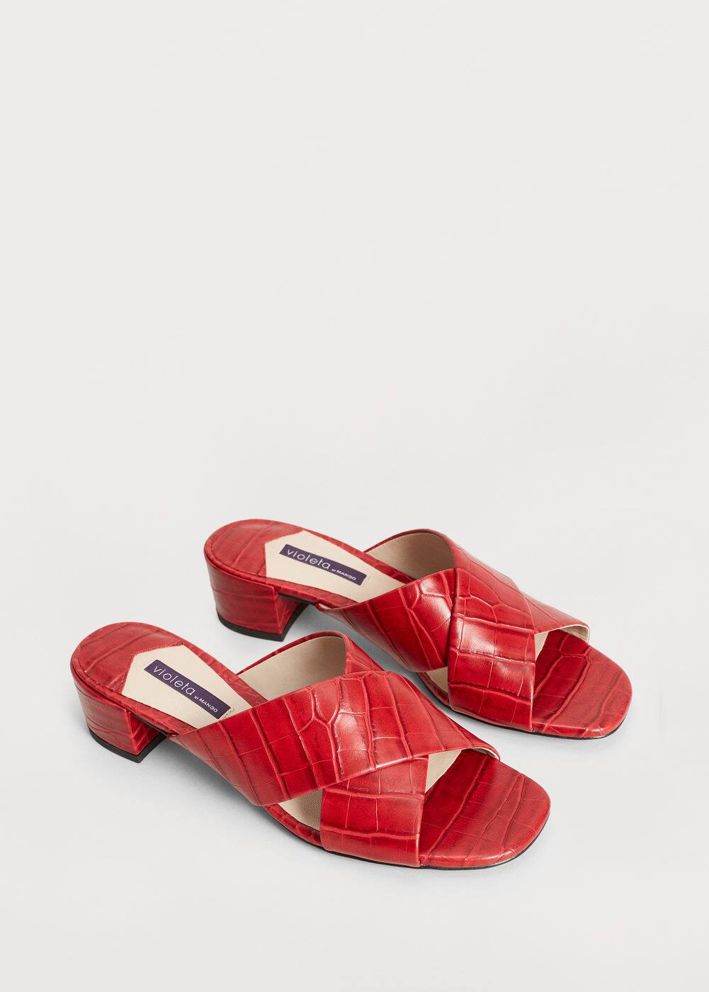 Croc-effect crisscross sandals | VIOLETA BY MANGO