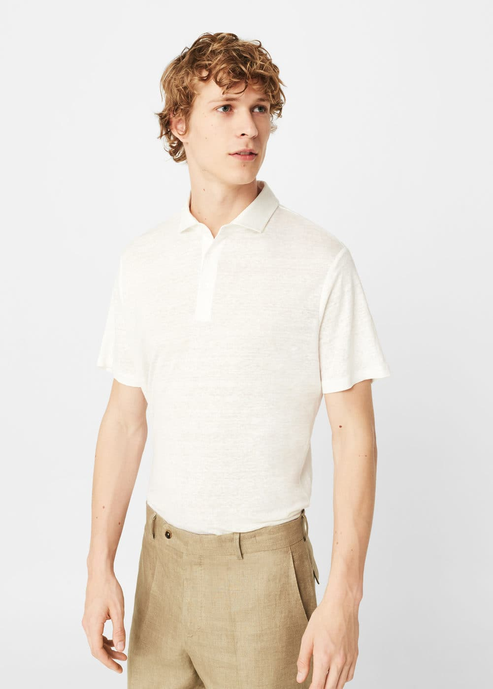 100% linen polo shirt | MANGO