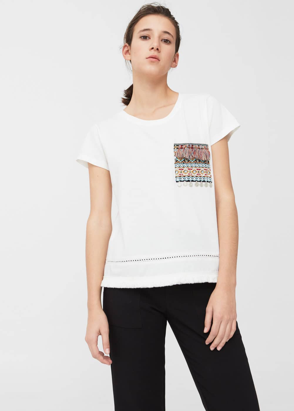 Embroidered chest-pocket t-shirt | MNG