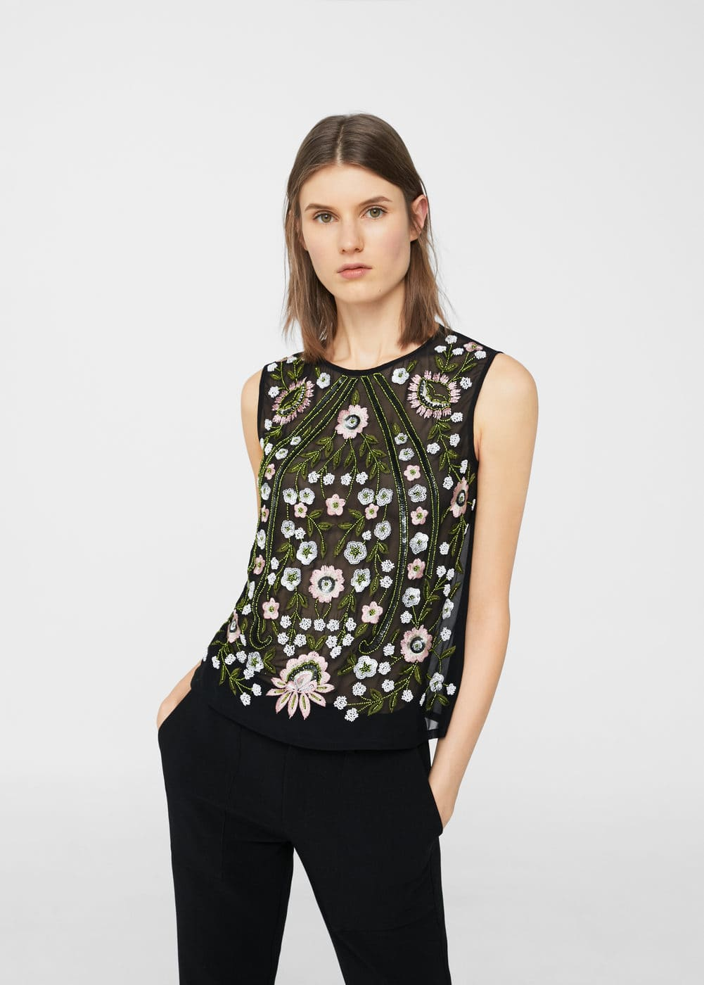 Bead embroidered top | MANGO