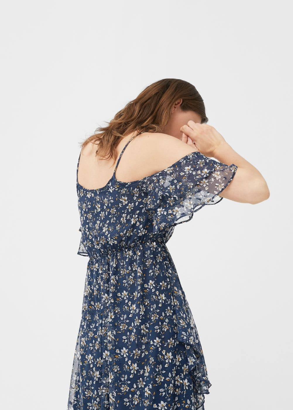 Vestido off-shoulder estampado | MANGO