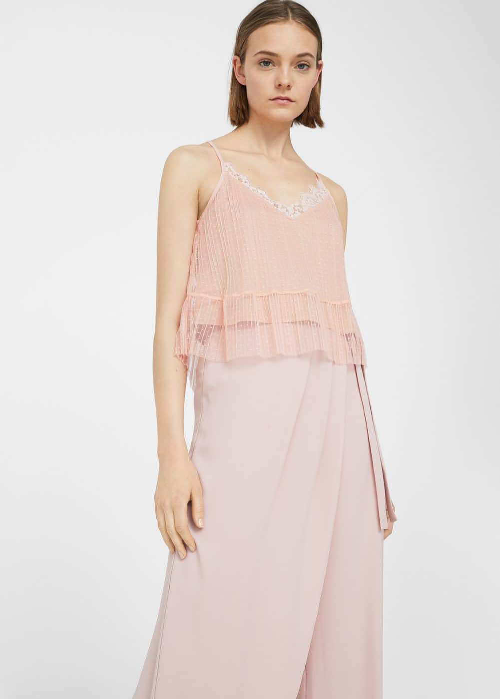 Lace tulle top | MANGO
