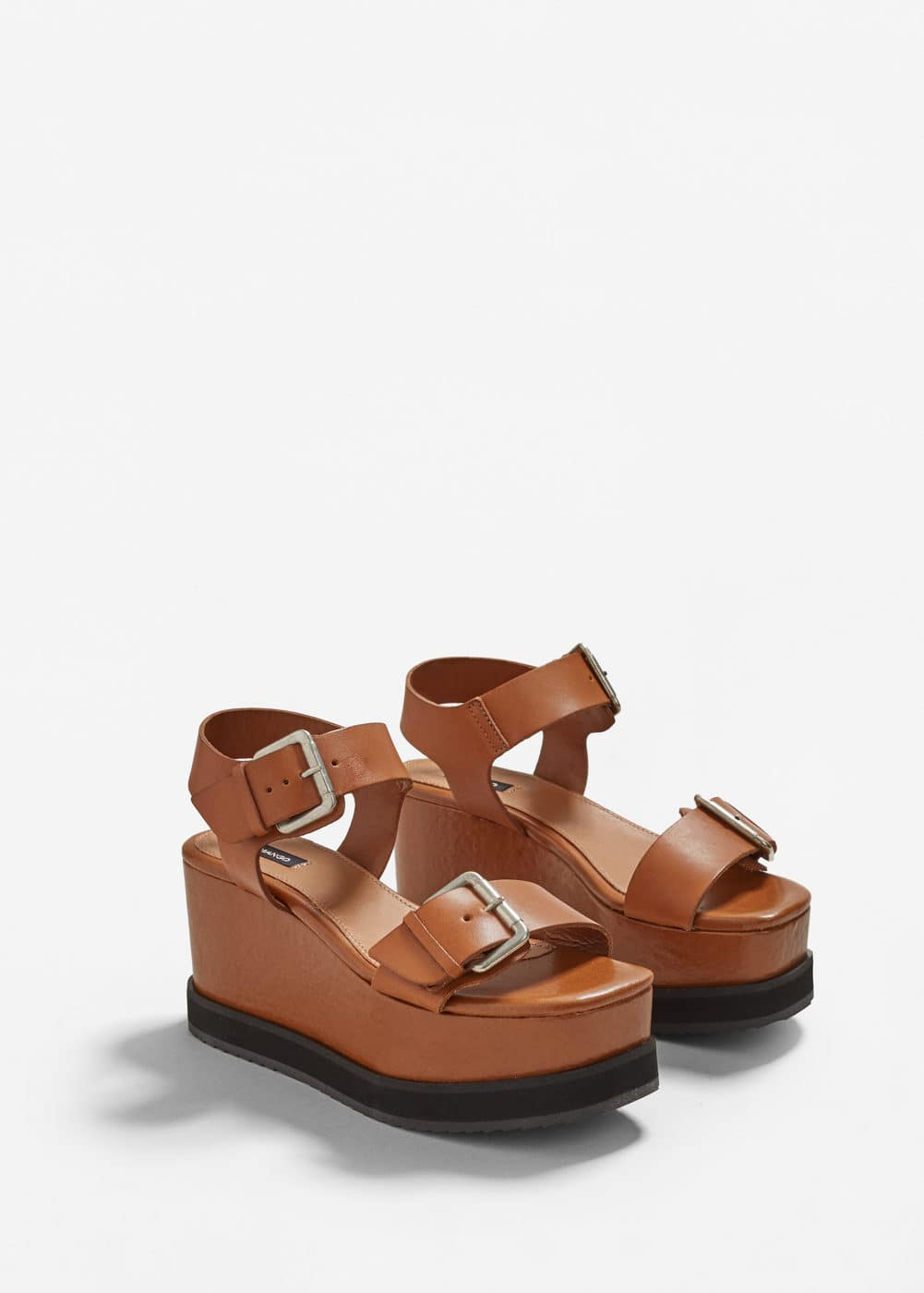 Wedge leather sandals | MANGO