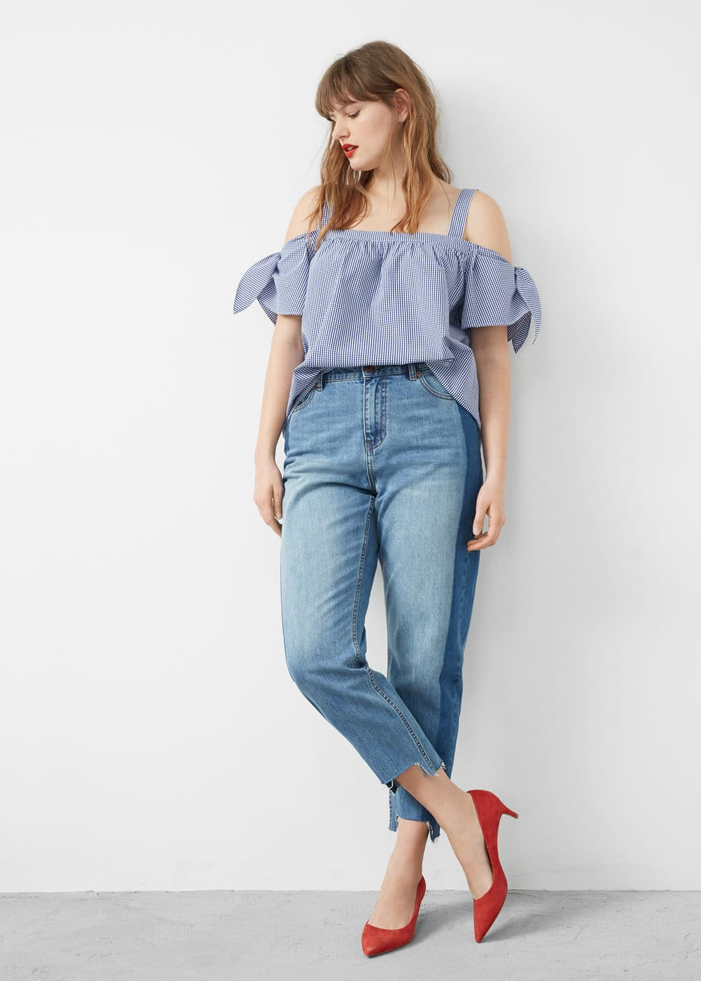 Check off-shoulder top | VIOLETA BY MNG