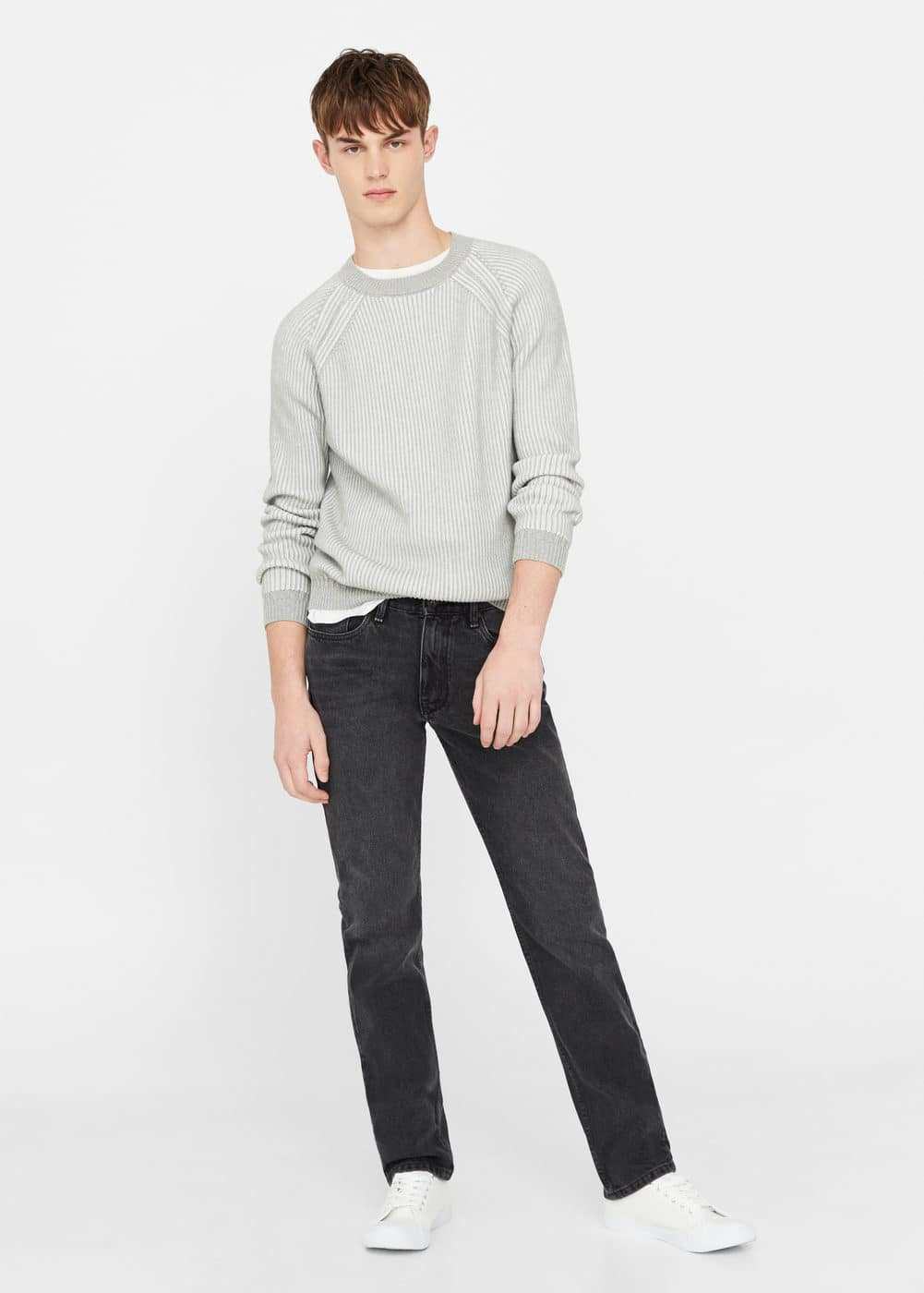 Straight-fit grey bob jeans | MANGO MAN
