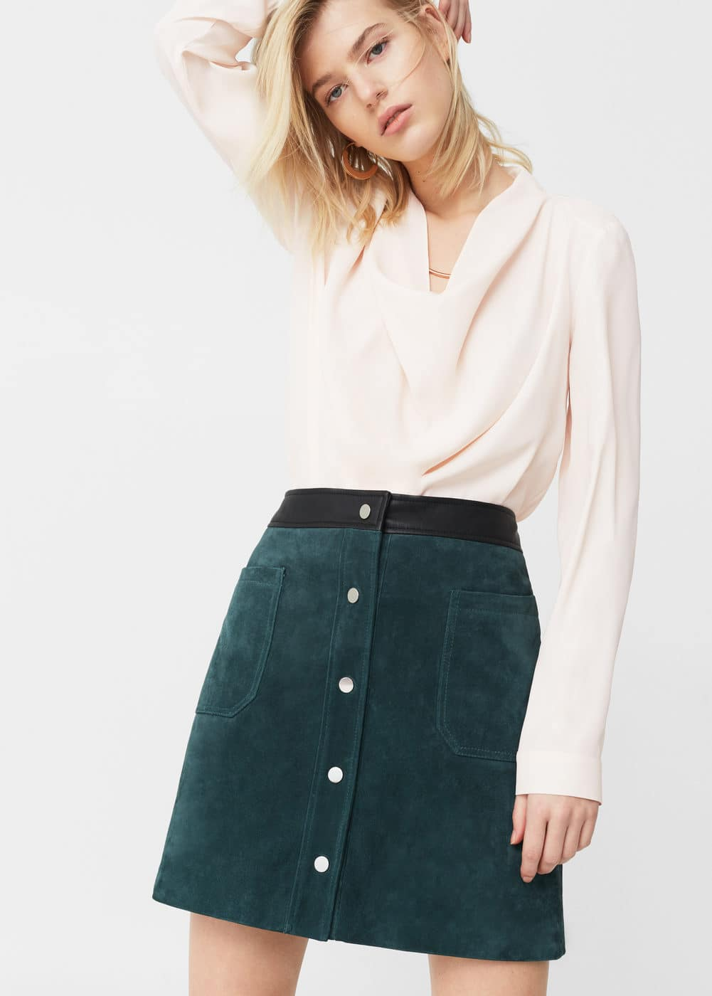 Waterfall neck blouse | MANGO