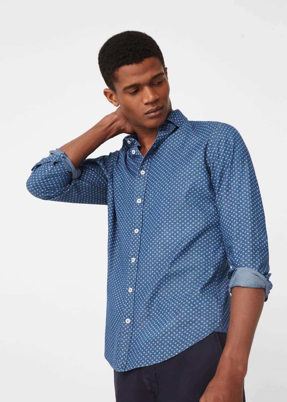 Slim-fit printed chambray shirt | MANGO MAN