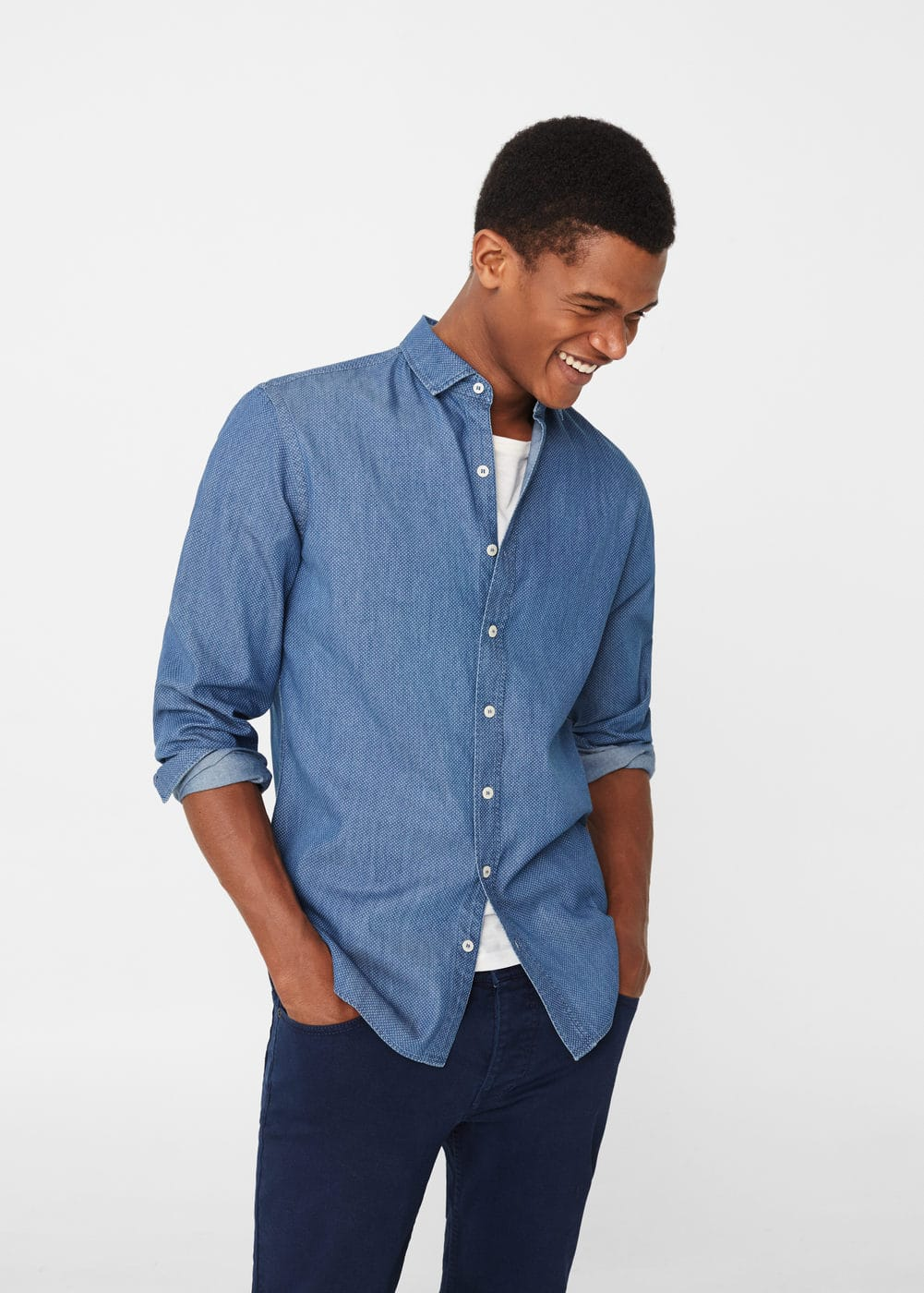 Slim-fit patterned chambray shirt | MANGO MAN