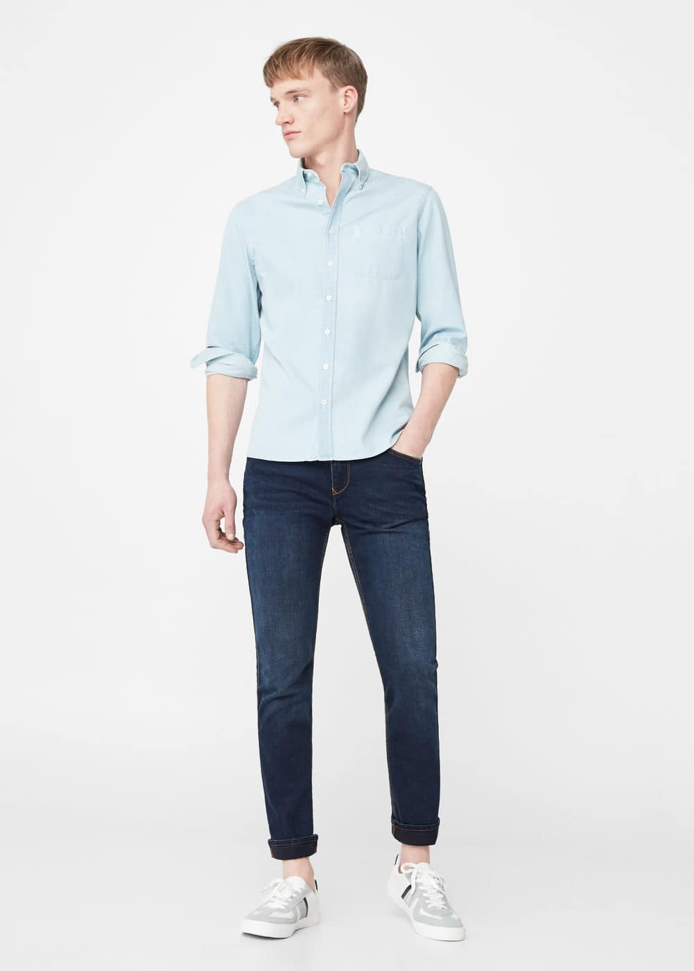 Light wash denim shirt | MANGO MAN